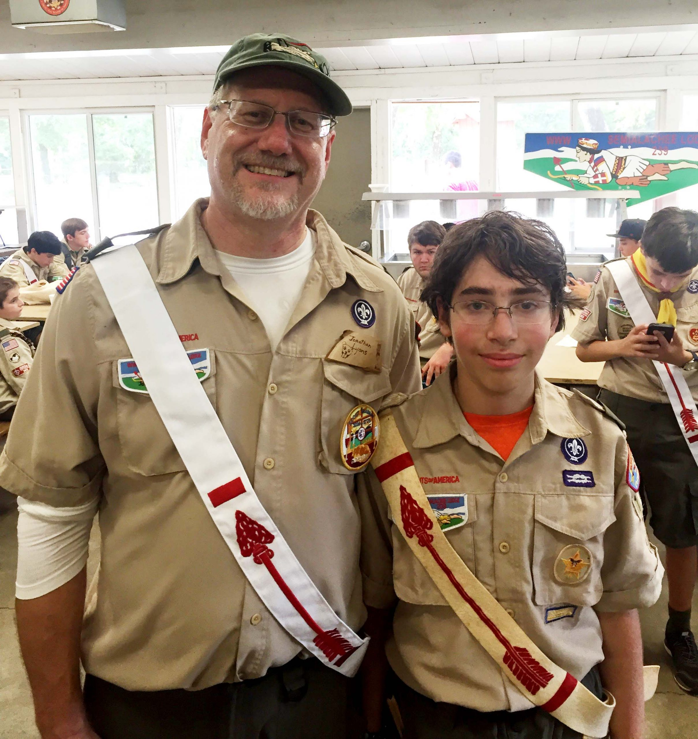 Jonathan and Avner in Scout uniforms with OA Brotherhood sashes